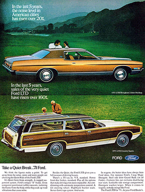 1971 Ford LTD Brougham & LTD Country Squire - Promotional Advertising Poster