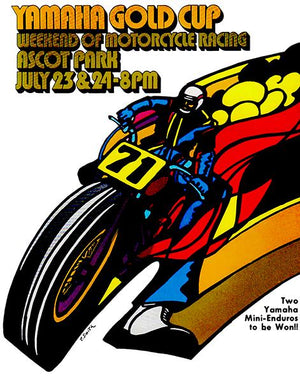 1971 Yamaha Gold Cup Motorcycle Race - Ascot - Program Cover Magnet
