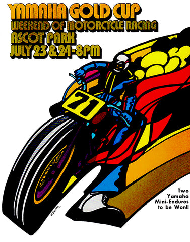 1971 Yamaha Gold Cup Motorcycle Race - Ascot - Program Cover Poster
