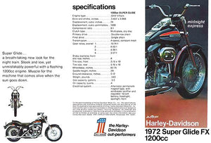 1972 AMF Harley-Davidson Super Glide FX 1200cc - Promotional Advertising Magnet