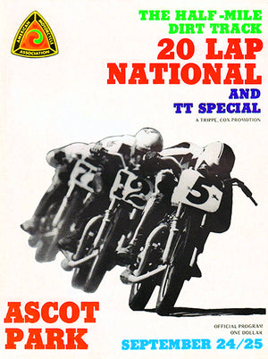 1972 Motorcycle Dirt Track Racing & TT - Ascot Park - Program Cover Poster