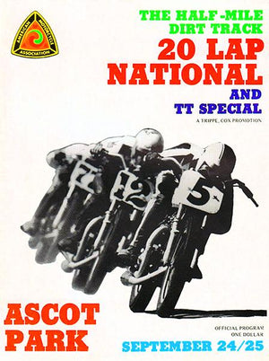 1972 Motorcycle Dirt Track Racing & TT - Ascot Park - Program Cover Magnet