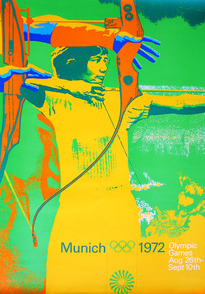1972 Olympic Games - Archery - Munich - Promotional Advertising Poster