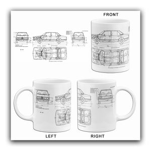 1973 BMW-5-Series-E12 520i - Blueprint Mug