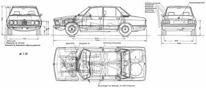 1973 BMW-5-Series-E12 520i - Blueprint Magnet