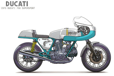 1973 Ducati 750 Supersport - Promotional Advertising Poster