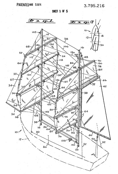 1974 - Sail Boat - Square Rigged - Nautical - D. E. MacPherson - Patent Art Poster