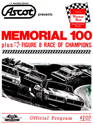 1974 Memorial 100 Stock Car Race - Ascot Park - Program Cover Poster