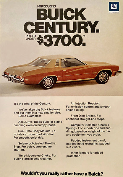 1975 Buick Century - Promotional Advertising Poster