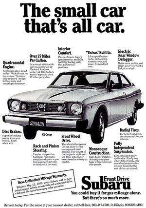 1975 Subaru GL Coupe - The Small Car That's All Car - Promotional Advertising Poster