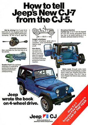 1976 New Jeep CJ-7 vs CJ-5 - Promotional Advertising Poster