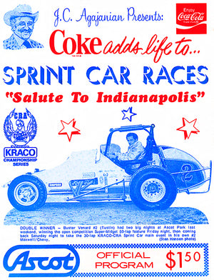 1980 Sprint Car Races - Ascot Park - Program Cover Poster