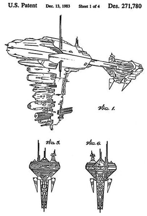 1983 - Rebel Medical Frigate - Star Wars - Patent Art Magnet
