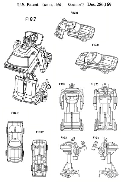 1986 - Camshaft - Omnibots - G1 Transformers - Patent Art Poster
