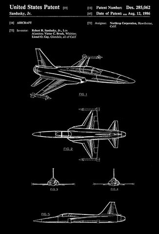1986 - Northrop F-20 Tigershark Fighter Aircraft - R. R. Sandusky, Jr. - Patent Art Poster