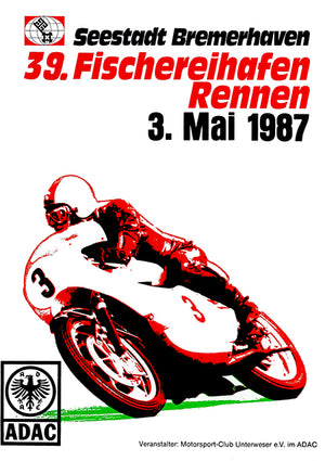1987 Bremerhaven Motorcycle Race - Promotional Advertising Poster
