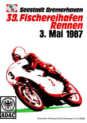 1987 Bremerhaven Motorcycle Race - Promotional Advertising Magnet