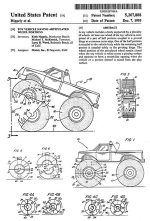 1993 - Toy Vehicle Having Articulated Wheel Portions - K. Hippely - Patent Art Magnet