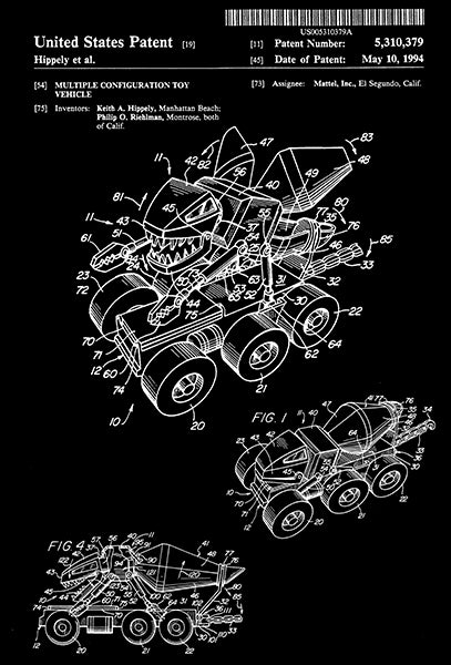 1994 - Multiple Configuration Toy Vehicle - K. A. Hippely - Patent Art Poster