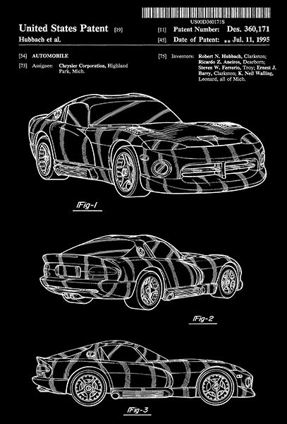 1995 - Chrysler Dodge Viper - Automobile - R. N. Hubbach - Patent Art Poster