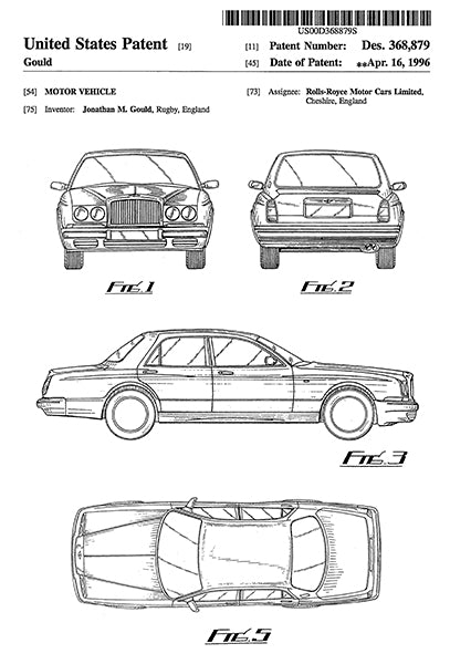 1996 - Rolls-Royce Motor Vehicle - J. M. Gould - Patent Art Poster