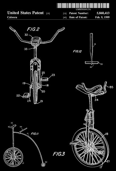 1999 - Unicycle - C. P. Cabrera - Patent Art Poster