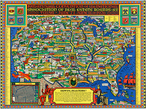 19th Annual Convention - Real Estate Boards - Tulsa - 1926 - Pictorial USA Map Poster