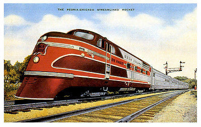 The Peoria Chicago Streamlined Rocket - Late 1930's - Vintage Postcard Poster