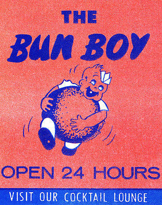 1950's - The Bun Boy - California - Matchbook Advertising Poster
