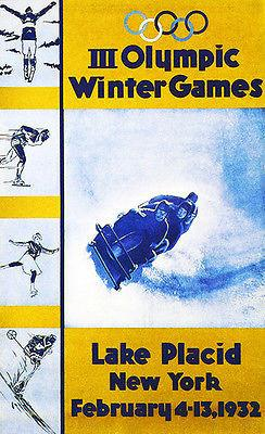 1932 Winter Olympic Games - Lake Placid NY - Promotional Advertising Magnet