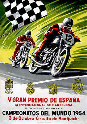 1954 Spanish Grand Prix Motorcycle Race - Promotional Advertising Poster