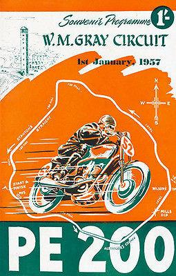1957 PE 200 Motorcycle Race - WM Gray Circuit South Africa - Promotional Magnet