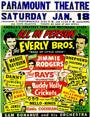 The Everly Brothers - Jimmie Rodgers - Buddy Holly - 1958 - Concert Poster