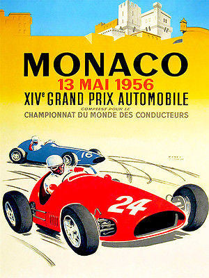 1956 Monaco Grand Prix Race - Promotional Advertising Poster