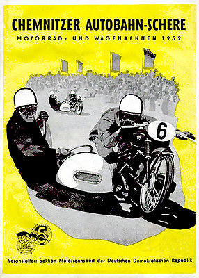 1952 Chemnitz Motorway Scissors Motorcycle Race - Promotional Advertising Poster