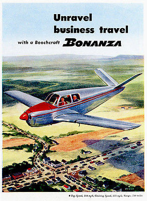 "1947 Beechcraft Bonanza ""Unravel Business Travel"" - Promotional Advertising Poster"