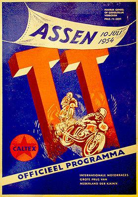 1954 Dutch T. T. Motorcycle Race - Promotional Advertising Magnet