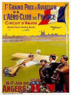 1912 Grand Prix D' Aviation Air Race - Promotional Advertising Poster
