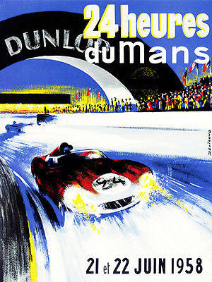 1958 24 Hours of Le Mans Race - Promotional Advertising Poster