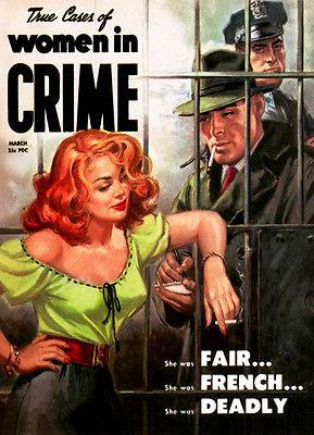 True Cases of Women in Crime - 1953 - Magazine Cover Magnet