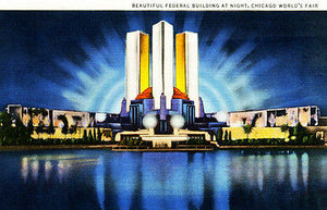 Federal Building at Night - Chicago World's Fair - Vintage Postcard Poster