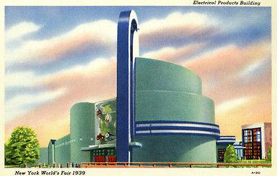 New York World's Fair Electrical Arts Building - 1939 - Vintage Postcard Magnet