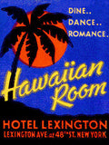 1920's - Hawaiian Room - Hotel Lexington - New York Matchbook Advertising Poster