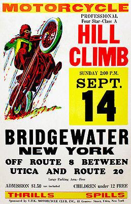 1958 - Bridgewater NY - Motorcycle Hill Climb - Promotional Advertising Magnet