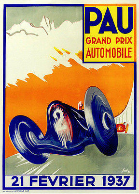 1937 Pau Grand Prix Race - Promotional Advertising Poster