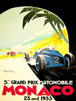 1933 Monaco Grand Prix Race - Promotional Advertising Poster