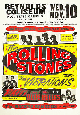 The Rolling Stones  - Reynolds Coliseum  - Raleigh NC - 1965 - Concert Poster