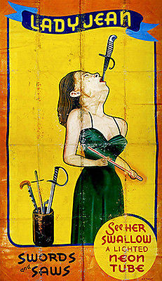 1950's Carnival Sideshow - Lady Jean Sword Swallower - Poster
