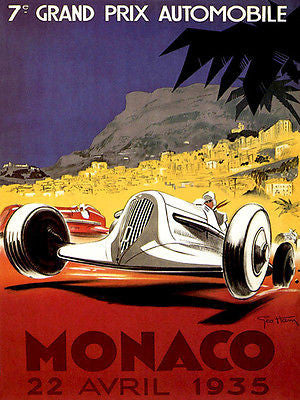 1935 Monaco Grand Prix Race - Promotional Advertising Poster