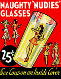 1940's - Naughty Nudies Glasses - Matchbook Advertising Poster